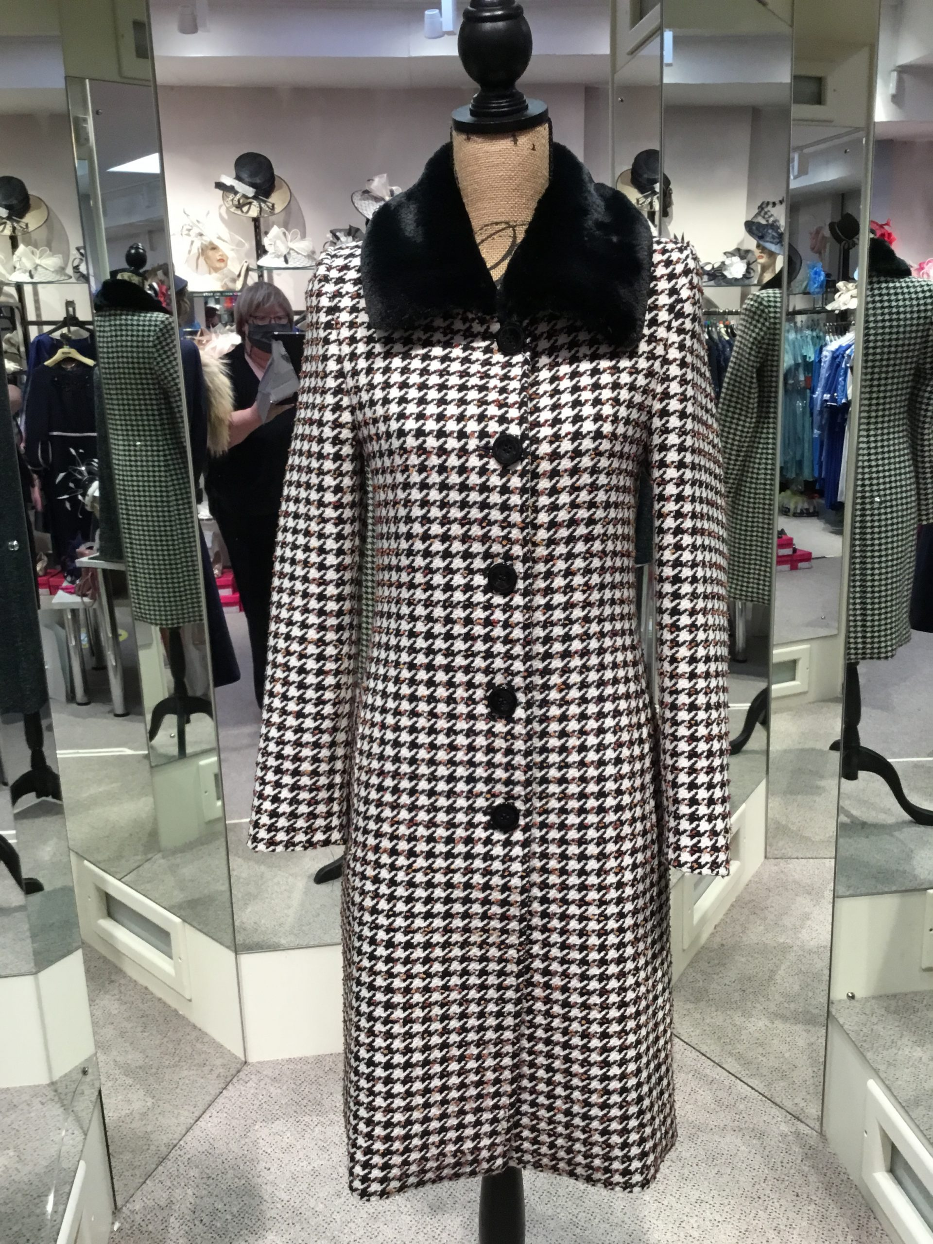 Christina Felix check coat with fur collar
