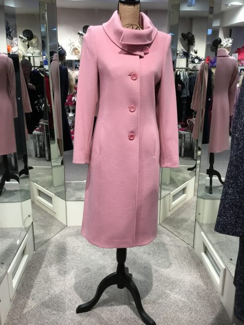 Christina Felix Dusky Pink coat roll collar with button detail