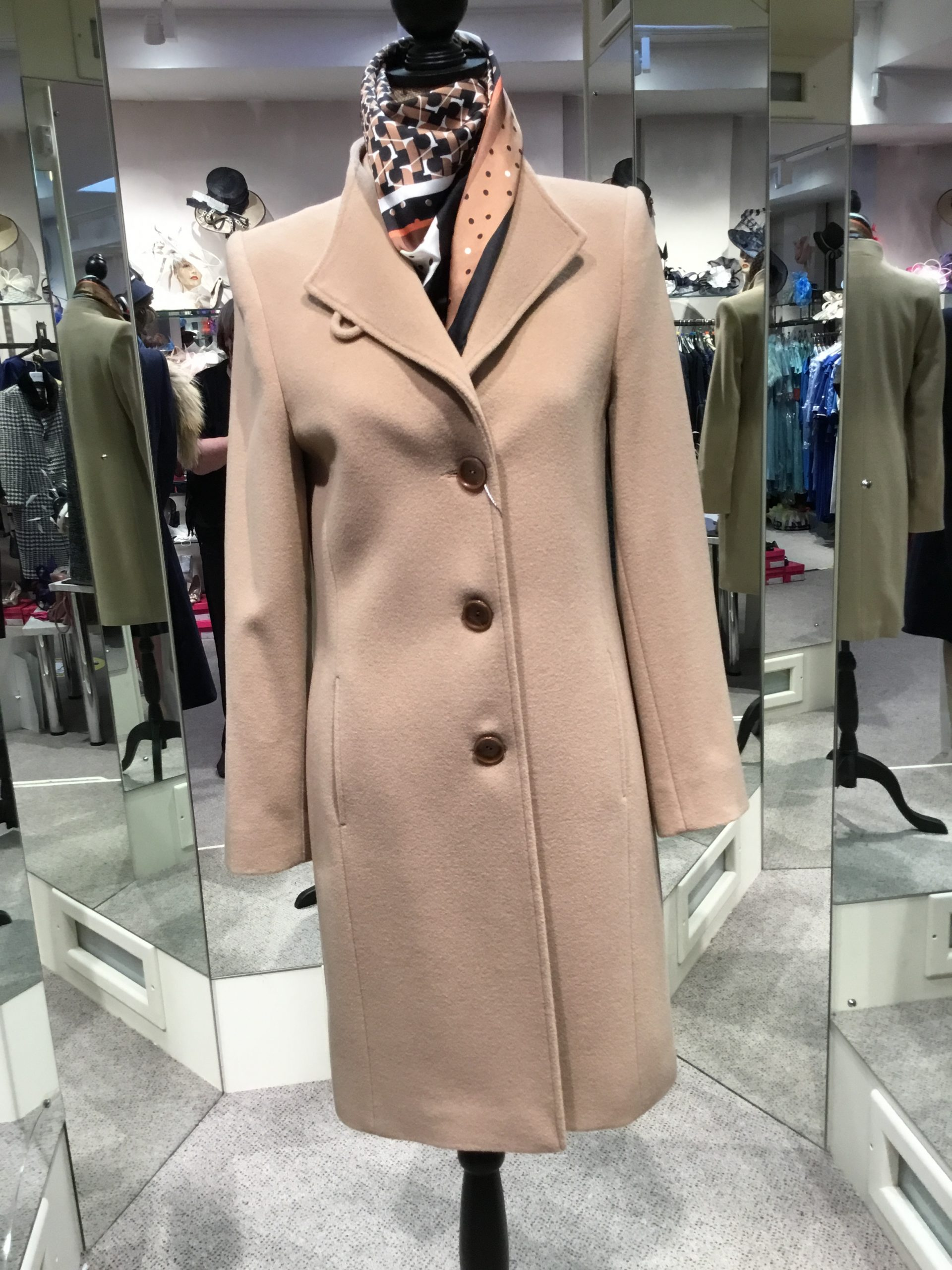 Christina Felix camel coat with tab detail