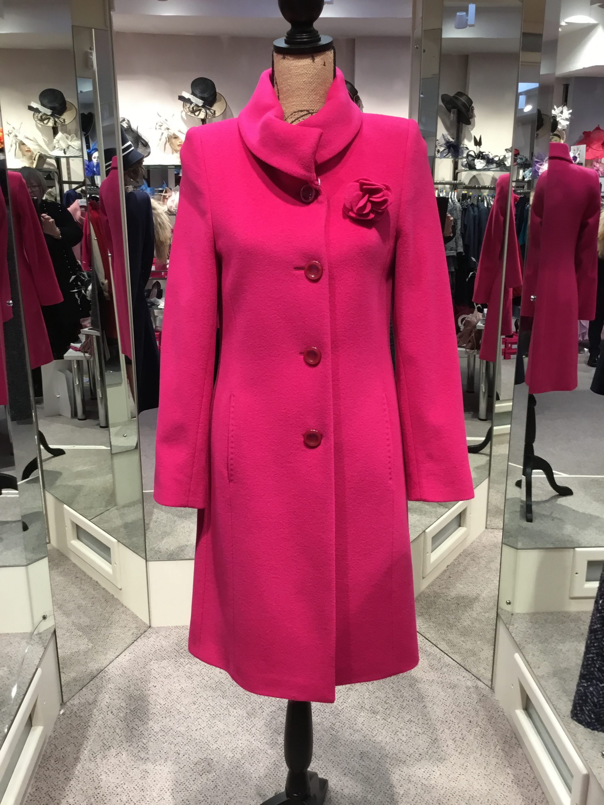 Christina Felix fushia coat with flower detail