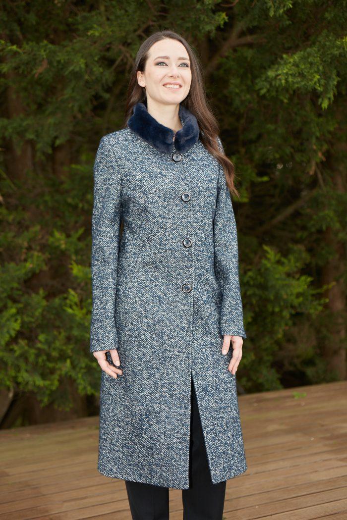 Christina Felix midnight tweed coat fur collar