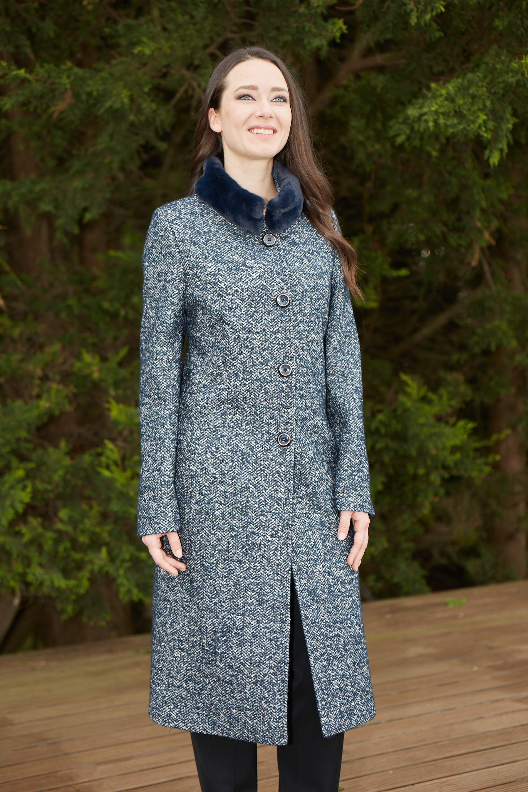 Christina Felix midnight tweed coat fur collar