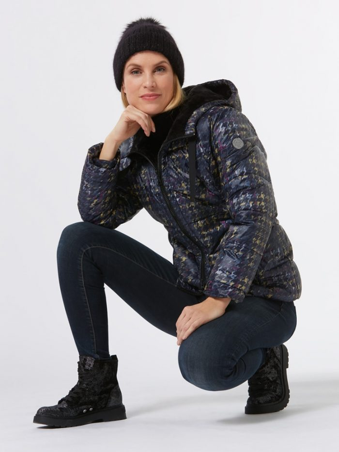 Green goose Print padded jacket in