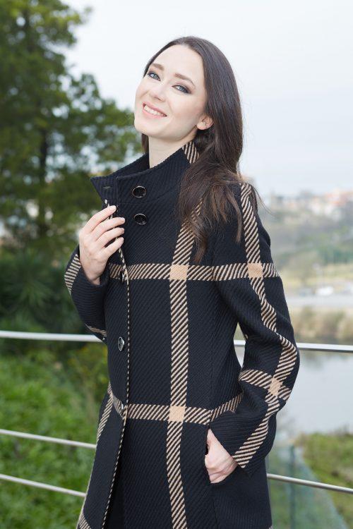 Christina Felix black and camel check coat