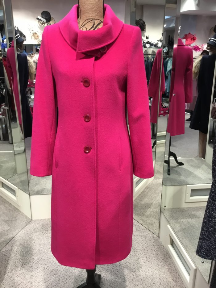 Christina Felix fushia coat with roll collar and button detail