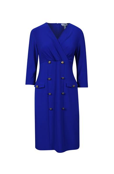 Joseph Ribkoff royal dress with gold button detail