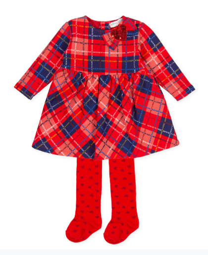 Agatha Ruiz de la Prada red and navy check dress with red tights