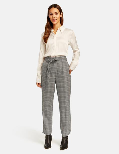 Taifun check trousers with paper bag waist