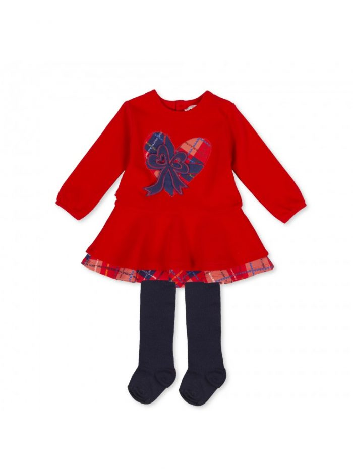 Agatha Ruiz de la Prada red dress with navy tights
