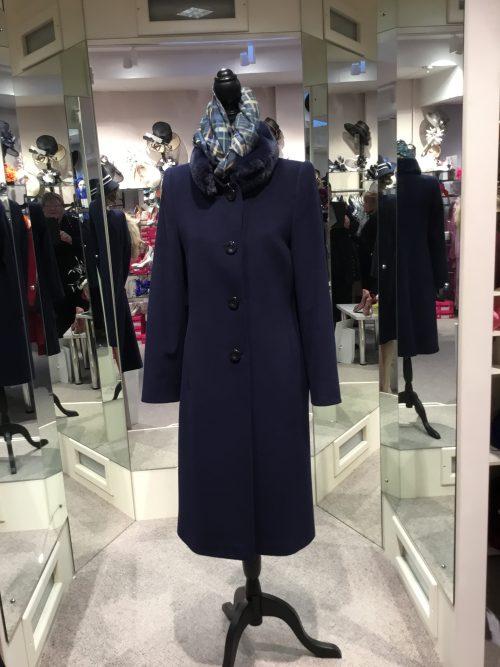 Christina Felix navy coat with detachable fur collar