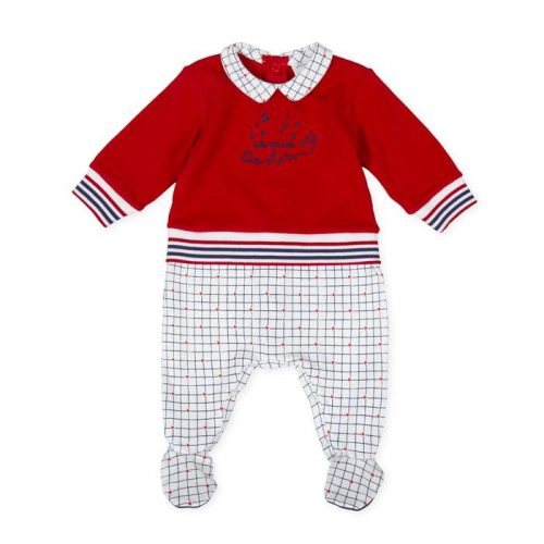 Tutto Picollo romper in red navy and white