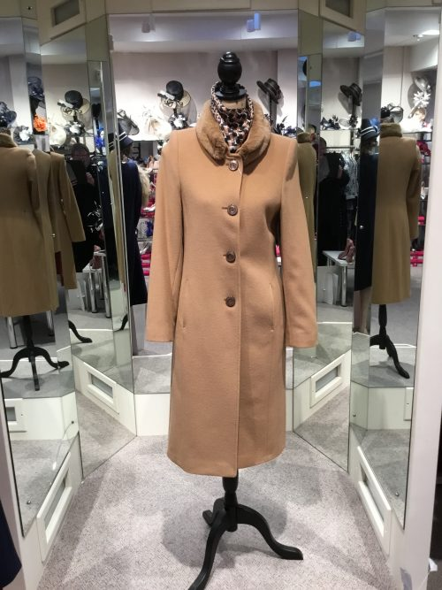 Christina Felix camel coat with detachable fur collar