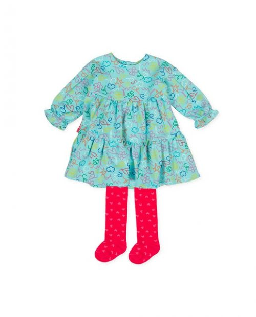 Agatha Ruiz de la Prada turq dress with fushia tights