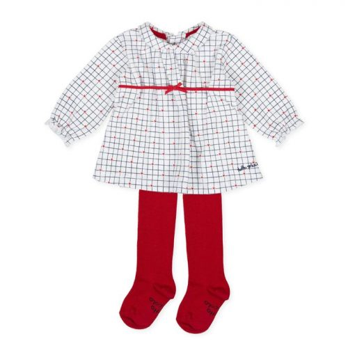 Tutto Picollo dress in red white check with red tights