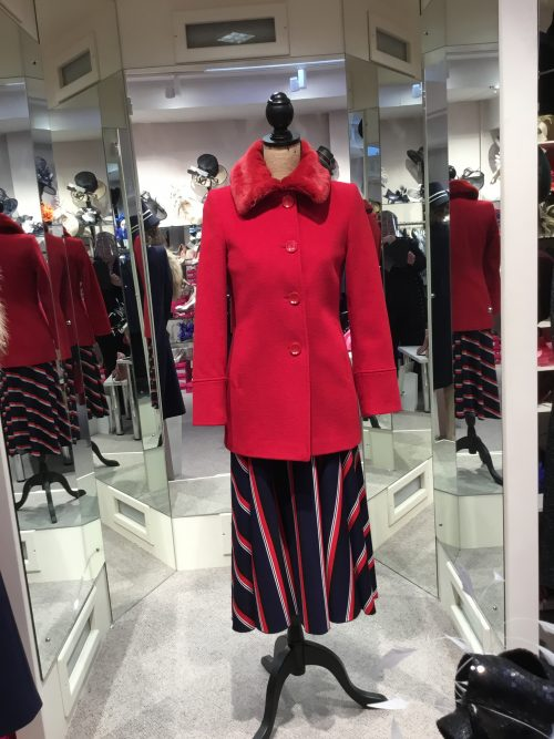 Christina Felix red wool jacket fur collar
