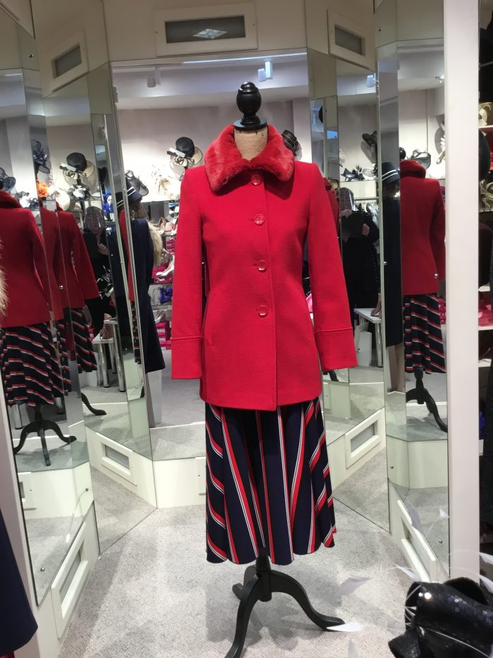 Christina Felix red wool jacket fur collar