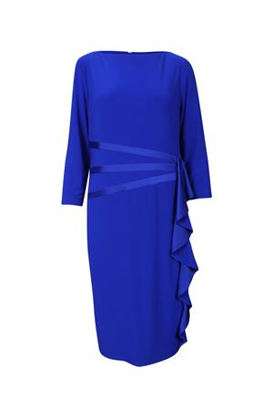 Joseph Ribkoff dress side ruffle royal blue