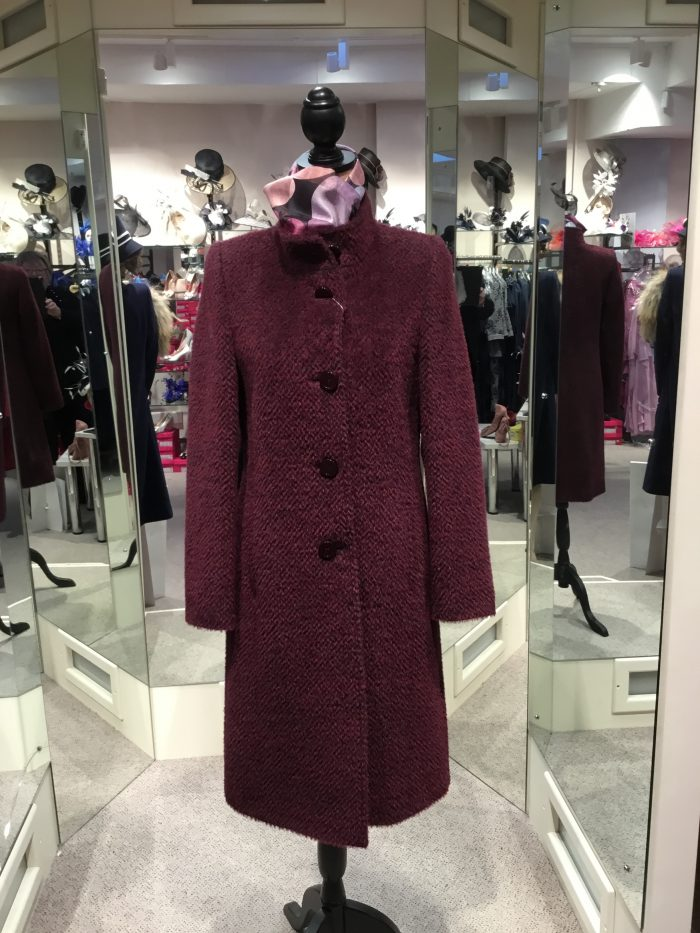 Christina Felix burgandy wool coat