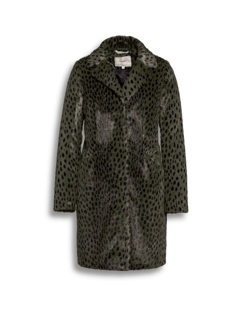 Beaumont faux fur green animal print coat