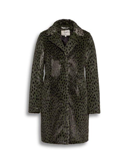 Beaumont faux fur green animal print coat