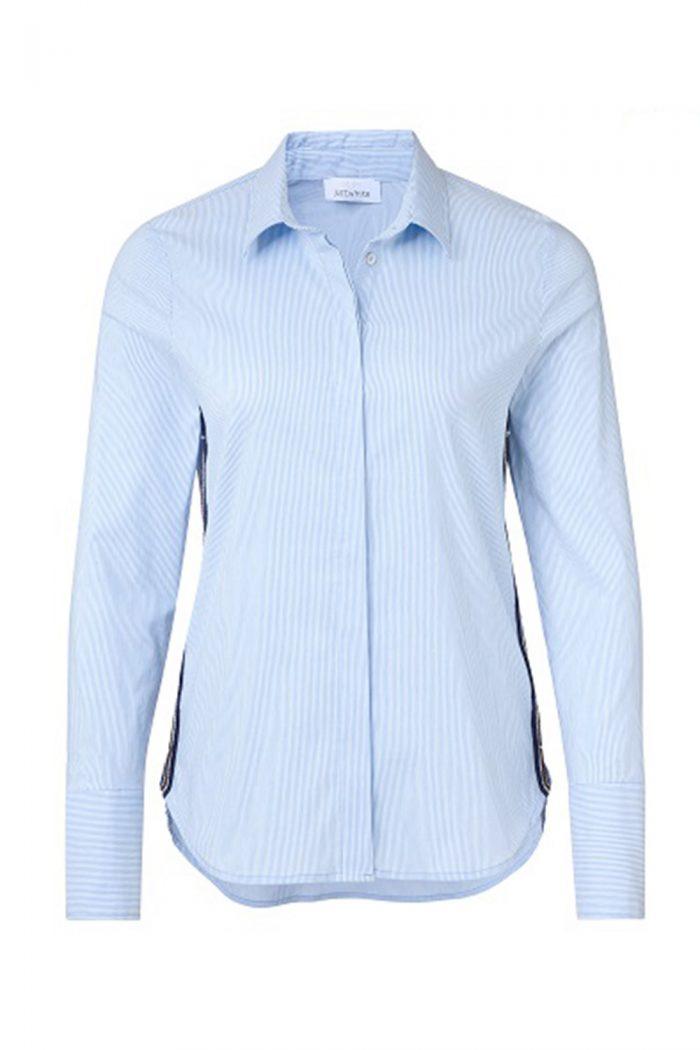 Just White blue pin stripe blouse