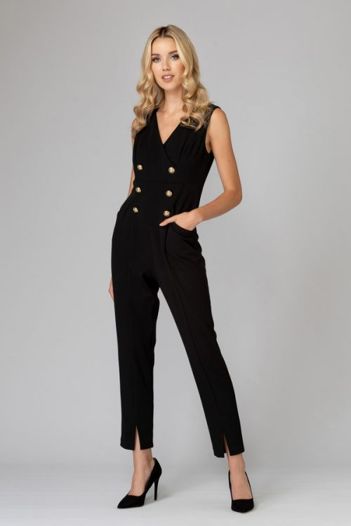 Joseph Ribkoff black jumpsuit gold button detail