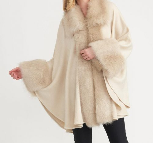 Joseph Ribkoff champagne coverup with faux fur trim