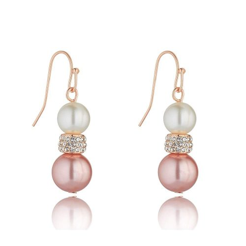 K&D 411 pink taupe pearl earrings