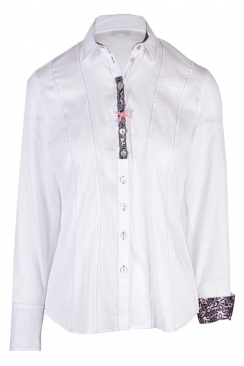Just White blouse pink and grey trim