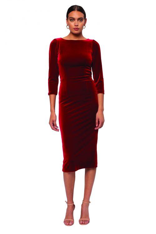 Nissa claret velvet dress with cowl back
