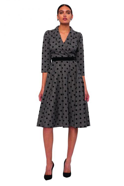 Nissa grey polka dot dress
