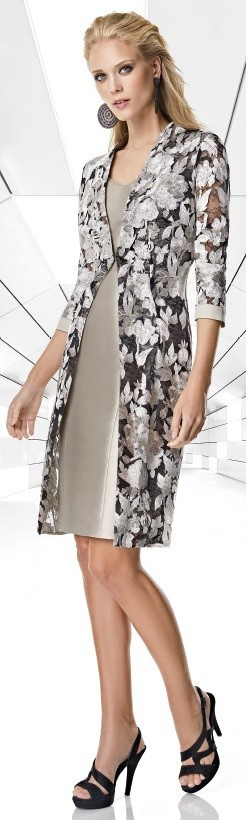 Sonia Pena silver lace dress and coat