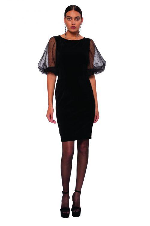 Nissa black velvet dress with polka dot net sleeve