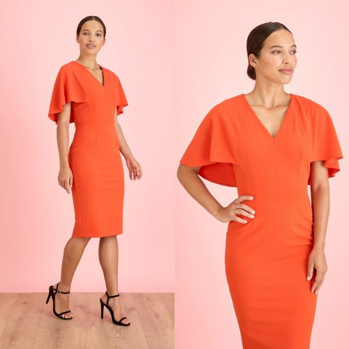 Cora burnt orange dress with cape