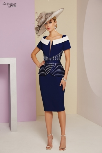 Veni infantino navy and White peplum dress