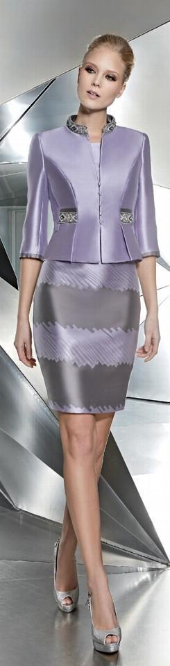 Lavender mikado silk dress and jacket