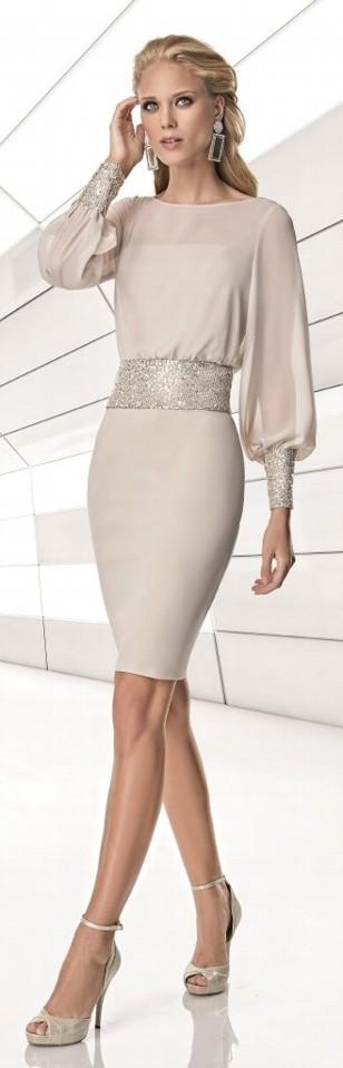 Sonia Pena champagne chiffon dress