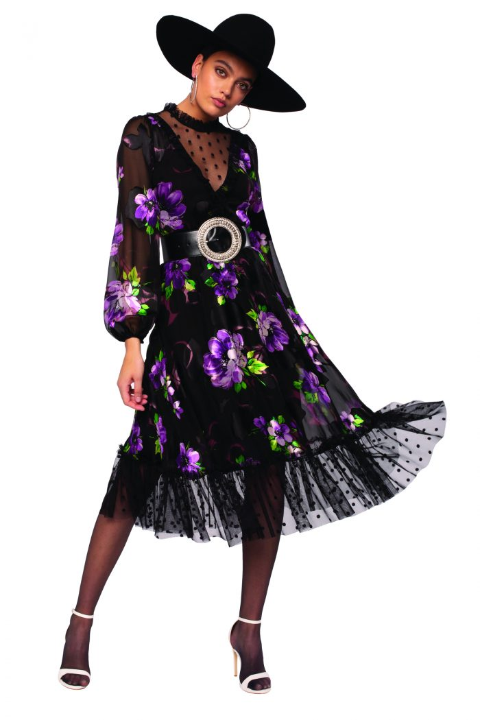 Nissa floral silk with black tulle