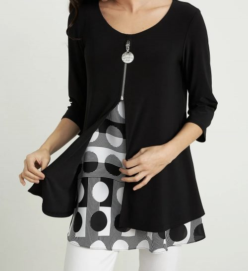 J Ribkoff black tunic with spor inlay