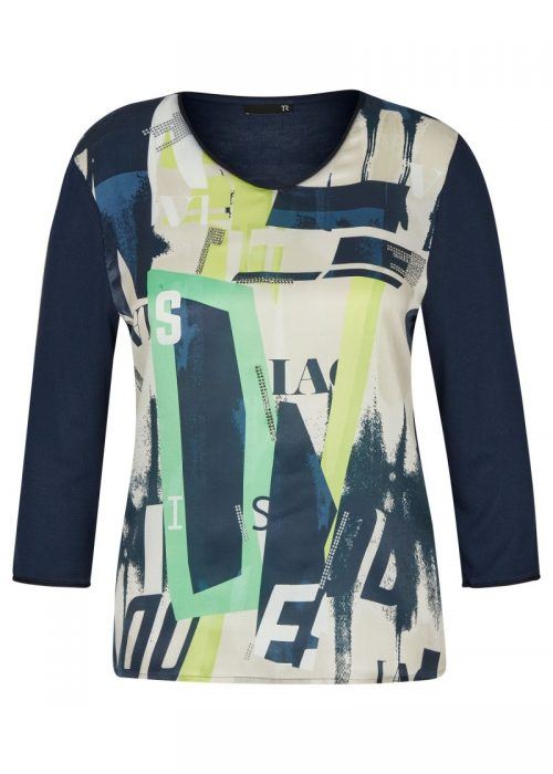 Rabe top print navy green