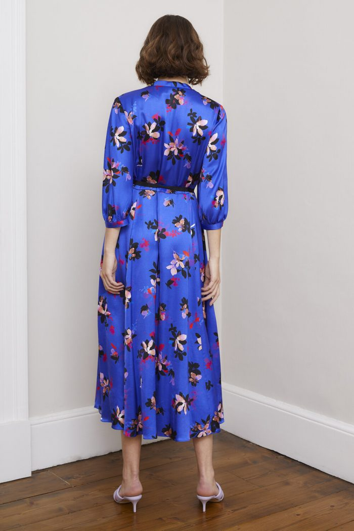Sisters by C K Ricky blue floral dress with sleeves