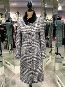 christina felix houndstooth coat with fur collar