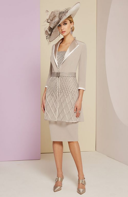 Veni Infantino taupe Ivory dress and coat