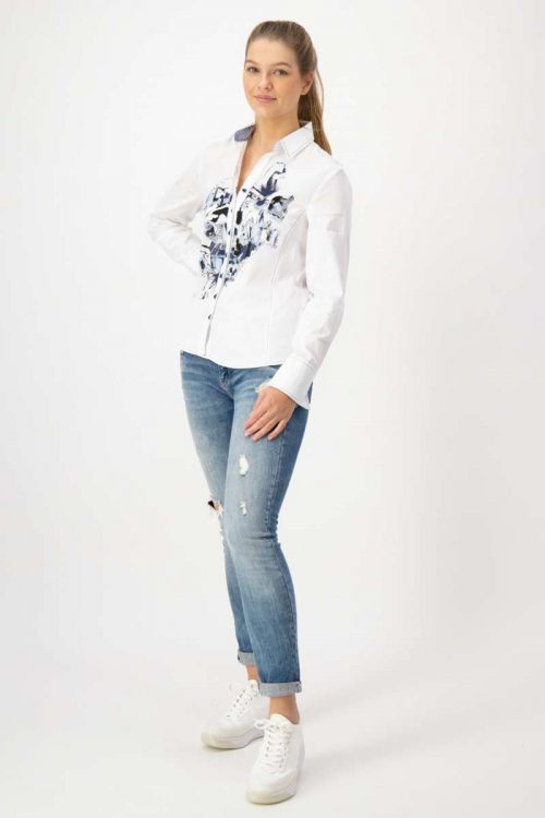 Jus5 white blouse 43652 with blue detail