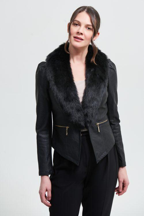 Josephribkoff faux suede with fur collar