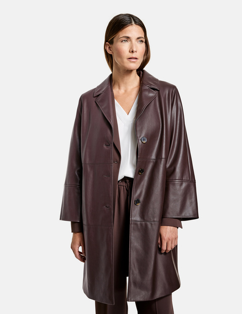 Gerry Weber faux leather coat maroon 650001