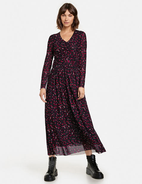 Taifun print dress black red mesh 881011