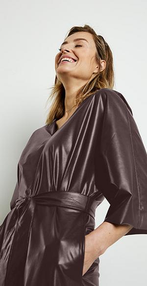 Gerry Weber faux leather chestnut dress 680019