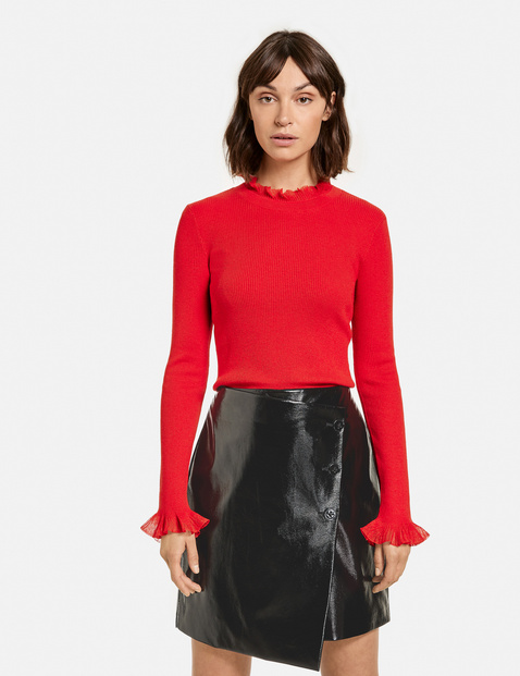 Taifun knit jumper lace collar red