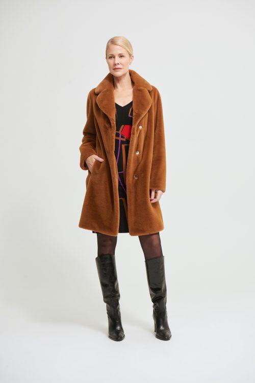 Joseph Ribkoff faux fur chestnut coat
